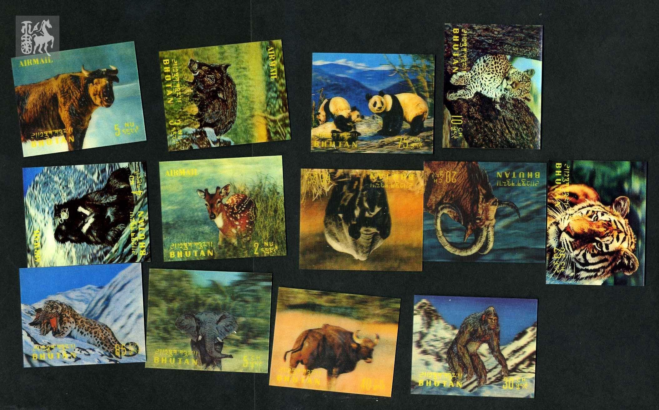 不丹3d立体邮票野生动物13枚