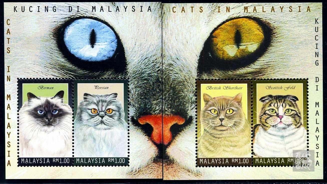 猫咪手绘邮票图片