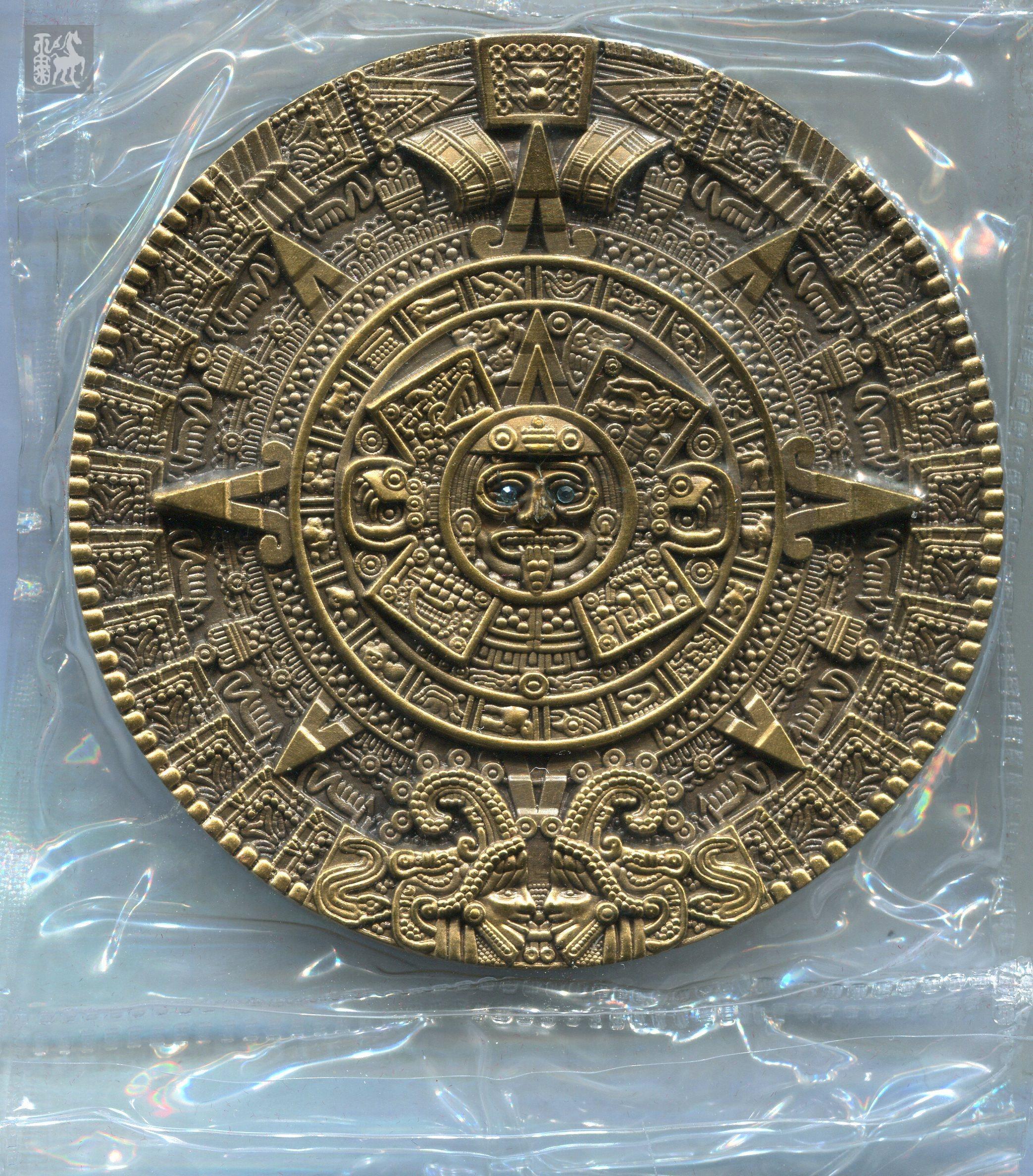 2012年铜訫缘发行消失的文明 玛雅文明黄铜大铜章一枚 直径高清图片